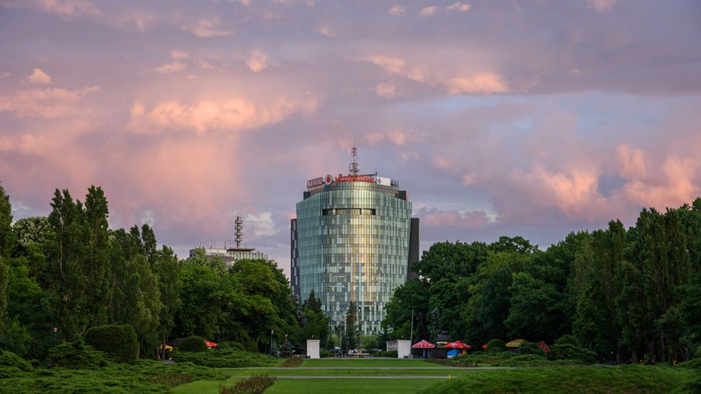Charles de Gaulle Center seen from Herastrau Park